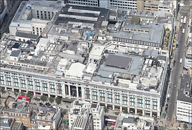 9baf34bbcdd30 Selfridges as viewd from a helicopter. Selfridges Department Store ...