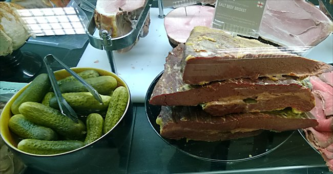 Selfridges salt beef sandwich and pickle